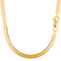 14K Yellow Gold Imperial Herringbone Chain Bracelet - Width 5.0 mm - Length 7 Inch