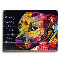 Gratitude Pit Bull by Artist Dean Russo Wood Sign