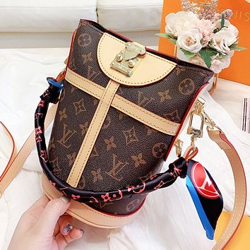 LV Louis Vuitton High Quality Women Leather Bucket Bag Handbag Shoulder Bag Crossbody Satchel