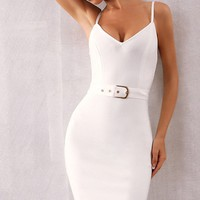 Sneak Attack Sleeveless Spaghetti Strap V Neck Belted Bodycon Bandage Midi Dress - 3 Colors Available