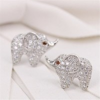 Setting of AAA Quality White Clear CZ Stones Pin Earrings Baby Elephant with Ruby Eyes Silver Color 18K Gold Plated Gift for Her ADP 0704