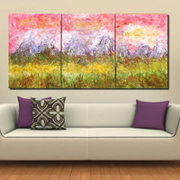 XXL Huge Original Abstract Modern Triptych Painting Mountain Sunset Acrylic on Canvas