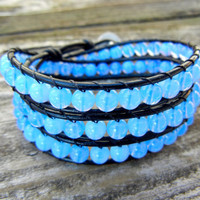 Spring Beaded Leather 3 Wrap Bracelet with Periwinkle Blue Czech Glass Beads on Black Leather