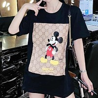 GUCCI & Disney New fashion letter mouse print couple top t-shirt Black