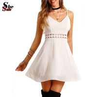 Cute Female 2016 Summer New Style White Spaghetti Strap Backless V Neck Hollow Out Lace Slim and Flare Mini Dress