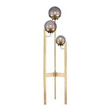 South Water 3-Light Floor Lamp in Antique Brass and Smoked Glass