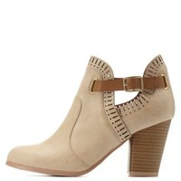 Tan Qupid Laser-Cut Belted Ankle Booties by Qupid at Charlotte Russe