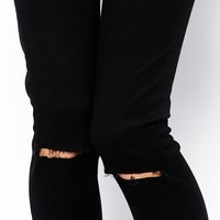 ASOS PETITE Ridley High Waist Ultra Skinny Jeans In Clean Black with Ripped Knees