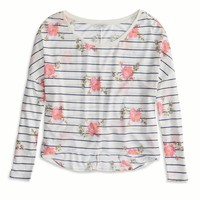 AEO FACTORY FLORAL STRIPED T-SHIRT