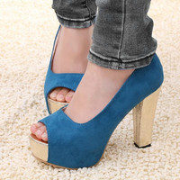 Peep Toe Pumps Platform Height Shoes Suede Blue Black Women Shoe 11Cm High Heels