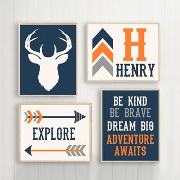 Deer Wall Art Woodland Quote, BABY Boy Nursery Decor, Arrows Dream Big Be Kind Explore Adventure Wall Decor Set of 4 Canvas or Print