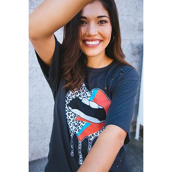 Leopard Lightning Lips Distressed Graphic Tee, Black | Extended Sizes Available