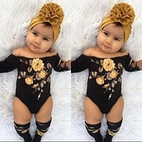 US Newborn Baby Girl Off Shoulder Flower Romper+Leg Warmers 3Pcs Outfits Clothes