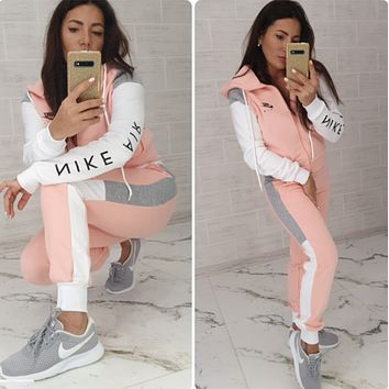 NIKE Women Fashion Long Sleeve zipper Jacket Pants Two-Piece Pink