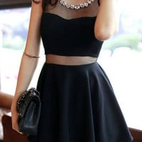 Black Rhinestone Neck Sleeveless Mini Dress