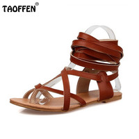 Size 30-50 Fashion Women Shoes Classic Design Gladiator Sandals Women Flat Shoes Bohemia Lace-Up Sandals Women Sandals PA00608