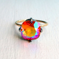 Handmade Sunrise Swarovski Ring in Sterling Silver and 14k Gold Fill