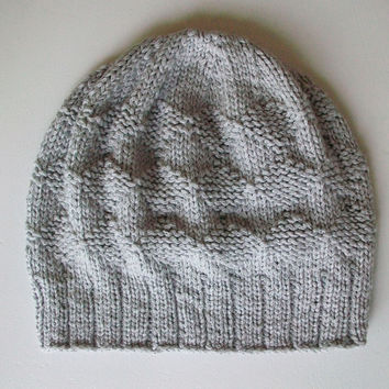 Slouchy Knit Hat Diamond Pattern Easy Knitting