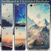 Back Cases Cover For Apple iphone 4 4s 5 5s SE 5C 6 6s 6 plus Mountain Boat Landscape Soft Silicon Transparent TPU Phone cases