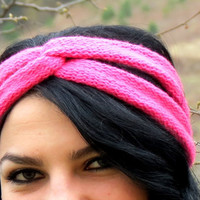Knitted Turband Headband Twist knit pink. Ear Warmer. Stretchy Workout Hair Band. Hair Bands Hair Coverings for Women