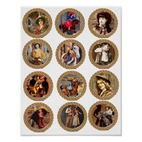 Vintage Cowgirls In Rope Frames Collage Art Poster