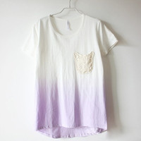 Lace Pocket Gradient High-low Tee