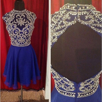 Royal Blue Beaded Capped Chiffon Homecoming Dress
