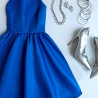 Royal Blue Simple Strapless Homecoming Dress