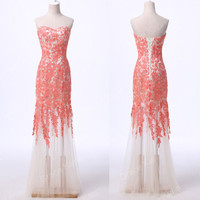NEW Stock Strapless Lace Tulle Ball Gown Masquerade Evening Prom Party Dresses