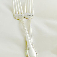 mr and mrs wedding forks- Hand stamped- silverplated, wedding gifts, anniversary gifts.