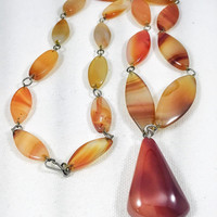 Red agate necklace, red stone agate pendant, vintage gemstone necklace