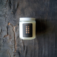 Petrichor: Otherworldy Soy Candle in Glass Jar, 5 ounces, Rainstorm and Earth Scent, Cotton and Wood Wick Available