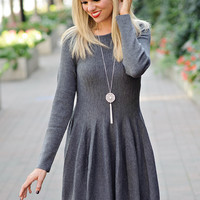 * Lys L/S Fit and Flare Sweater Dress: Grey