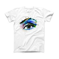 The Soul Stare Eye ink-Fuzed Front Spot Graphic Unisex Soft-Fitted Tee Shirt