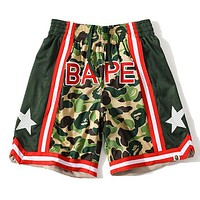 Onewel BAPE breathable sports camouflage star shorts Mesh Green