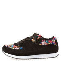 Cobalt Qupid Floral Lace-Up Sneakers by Qupid at Charlotte Russe