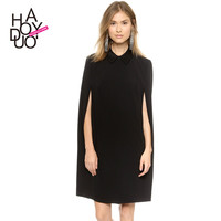 Haoduoyi Solid Cape Dress Turn Down Collar Cloak Casual Work Dresses For Women Black OL Bussiness Autumn Robe,Vestidos