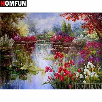5D Diamond Painting Flowers by the Pond Kit