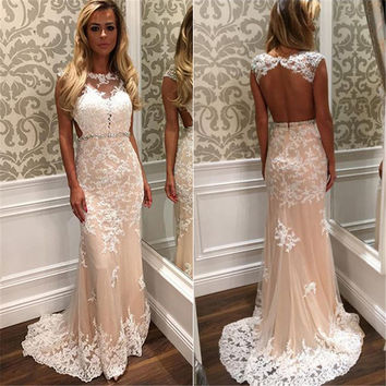 Robe De Soiree Sexy Open Back Prom Dresses 2016 Illusion Neck Floor Length Mermaid Bright Pink Applique Tulle Long Evening Dress