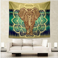 Elephant Tapestry Aubusson Colored Printed Decorative Mandala Tapestry Indian Religious Boho Wall Carpet Living Room Blanket