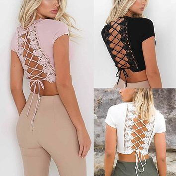 CROPPED BACK LACE-UP TOP