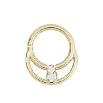 14KT Yellow Gold Septum Clicker Diath Indian Nose Ring Lip Ear Cartilage 16G