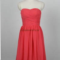 short coral modern bridesmaid dresses on sale discount sweetheart dress for wedding party under 100 trendy bridesmaid gowns prom dress