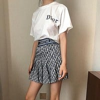 Dior summer new half-sleeved shirt short-sleeved female chest letter printed T-shirt