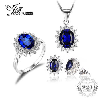 Diana William Engagement Wedding Created Sapphire Jewelry Set 925 Sterling Silver Ring Pendant Stud Earring 45cm Box chain