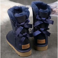 x1love :UGG : girl Large bow tie Keep warm Snow boots