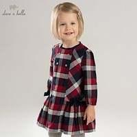 DBA7953 dave bella autumn infant baby girl's fashion plaid dress kids birthday party dress toddler children clothes