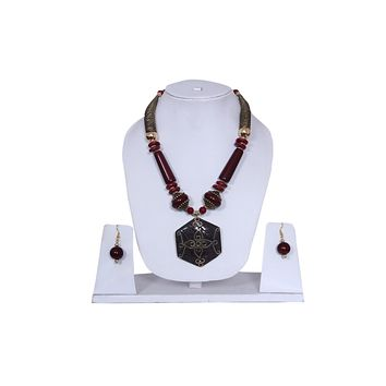 """Beach, Chunky, 15"""" Necklace Set with Cherry Wood , Amber Seeded Beads With Hoop Earrings"""