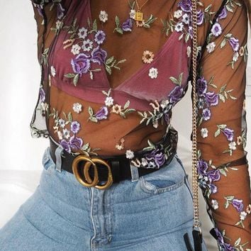 Fashion Women's 2017 Summer Sexy Sheer Flower Long Sleeve Shirt Floral Embroidery See Through Tops T-shirt