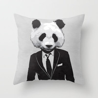 Panda Suit Throw Pillow by skinnnyboy
